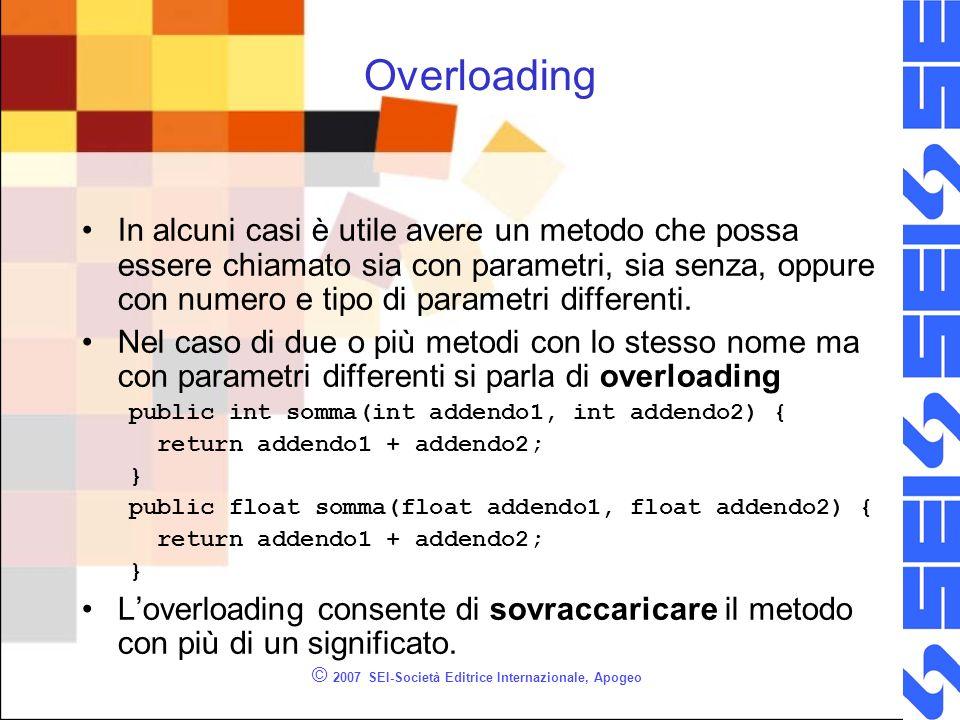 © 2007 SEI-Società Editrice Internazionale, Apogeo Overloading In alcuni casi è utile avere un metodo che possa essere chiamato sia con parametri, sia senza, oppure con numero e tipo di parametri differenti.