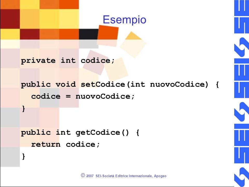 © 2007 SEI-Società Editrice Internazionale, Apogeo Esempio private int codice; public void setCodice(int nuovoCodice) { codice = nuovoCodice; } public int getCodice() { return codice; }