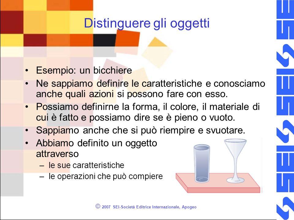 © 2007 SEI-Società Editrice Internazionale, Apogeo Distinguere gli oggetti Esempio: un bicchiere Ne sappiamo definire le caratteristiche e conosciamo anche quali azioni si possono fare con esso.