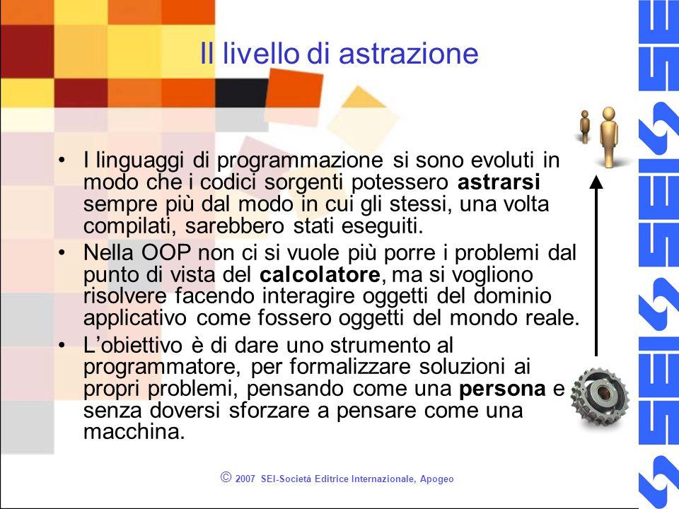 © 2007 SEI-Società Editrice Internazionale, Apogeo Convenzioni sui nomi delle classi Il nome di classe dovrebbe iniziare sempre con la lettera maiuscola.