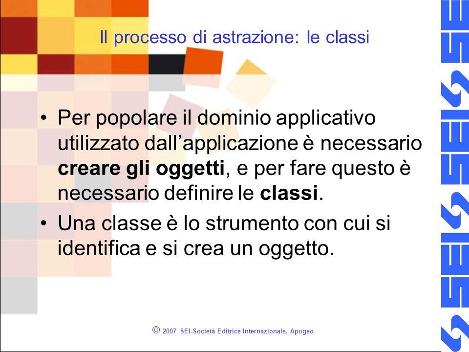 © 2007 SEI-Società Editrice Internazionale, Apogeo Una classe è un modello per la creazione di oggetti.