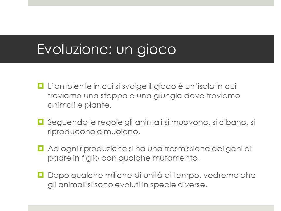 Evoluzione: un gioco Lambiente in cui si svolge il gioco è unisola in cui troviamo una steppa e una giungla dove troviamo animali e piante. Seguendo l