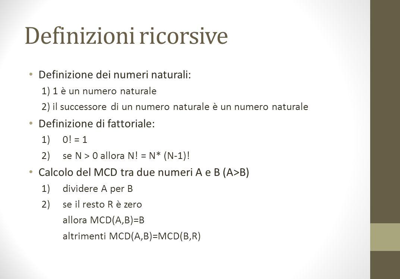 Definizioni ricorsive Definizione dei numeri naturali: 1) 1 è un numero naturale 2) il successore di un numero naturale è un numero naturale Definizione di fattoriale: 1)0.
