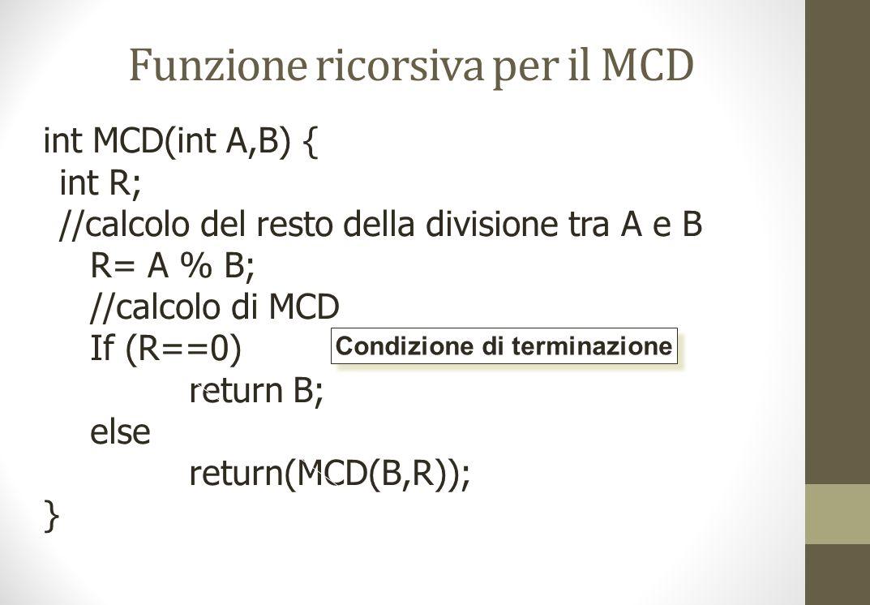 Funzione ricorsiva per il MCD int MCD(int A,B) { int R; //calcolo del resto della divisione tra A e B R= A % B; //calcolo di MCD If (R==0) return B; else return(MCD(B,R)); } Condizione di terminazione