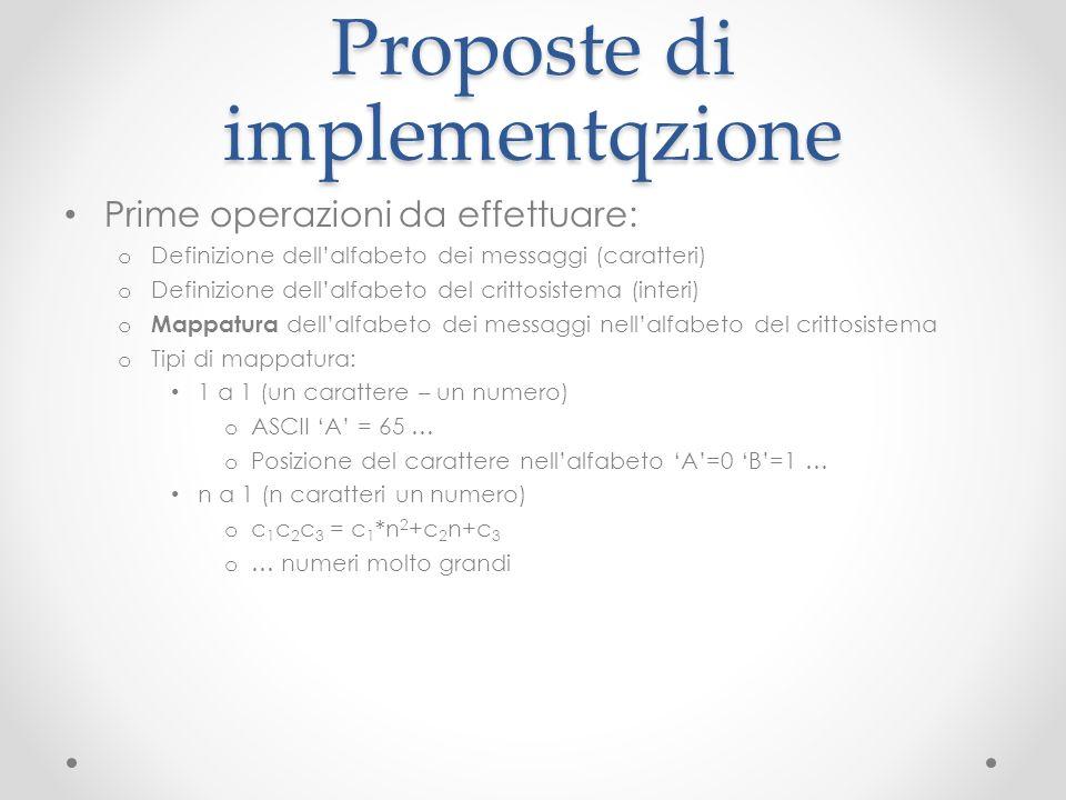 Proposte di implementqzione Prime operazioni da effettuare: o Definizione dellalfabeto dei messaggi (caratteri) o Definizione dellalfabeto del crittos