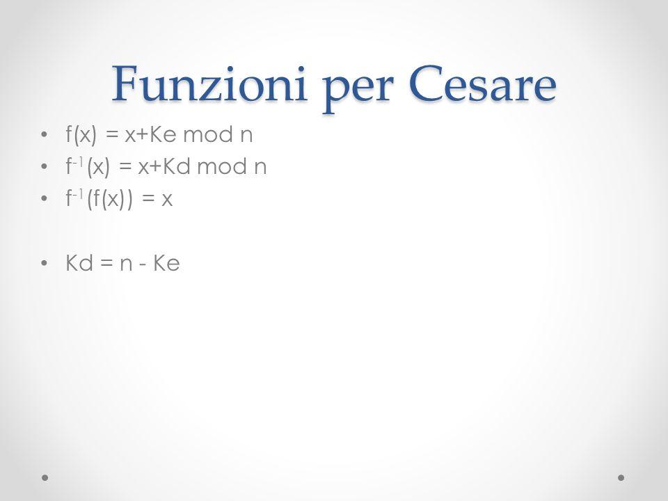 Funzioni per Cesare f(x) = x+Ke mod n f -1 (x) = x+Kd mod n f -1 (f(x)) = x Kd = n - Ke