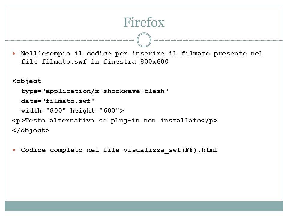 Firefox Nellesempio il codice per inserire il filmato presente nel file filmato.swf in finestra 800x600 <object type=