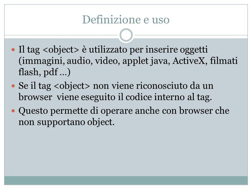 Definizione e uso Il tag è utilizzato per inserire oggetti (immagini, audio, video, applet java, ActiveX, filmati flash, pdf …) Se il tag non viene ri