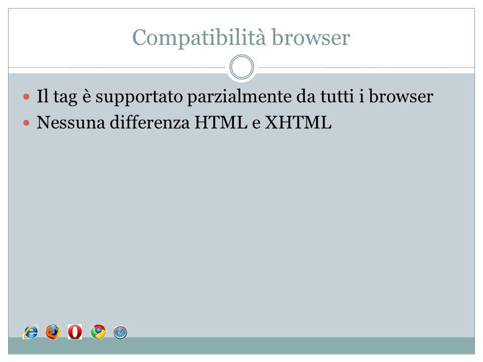 Compatibilità browser Il tag è supportato parzialmente da tutti i browser Nessuna differenza HTML e XHTML