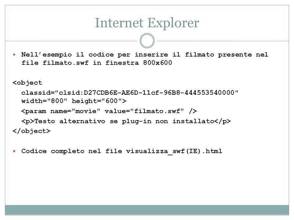 Internet Explorer Nellesempio il codice per inserire il filmato presente nel file filmato.swf in finestra 800x600 <object classid=