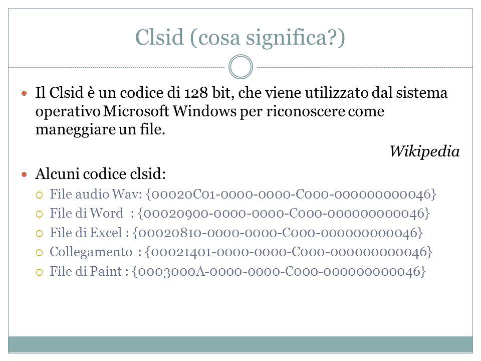 Clsid (cosa significa?) Il Clsid è un codice di 128 bit, che viene utilizzato dal sistema operativo Microsoft Windows per riconoscere come maneggiare