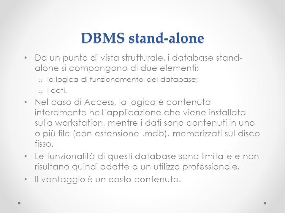 DBMS stand-alone Da un punto di vista strutturale, i database stand- alone si compongono di due elementi: o la logica di funzionamento del database; o