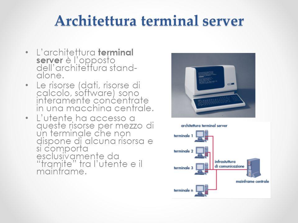 Architettura terminal server Larchitettura terminal server è lopposto dellarchitettura stand- alone. Le risorse (dati, risorse di calcolo, software) s