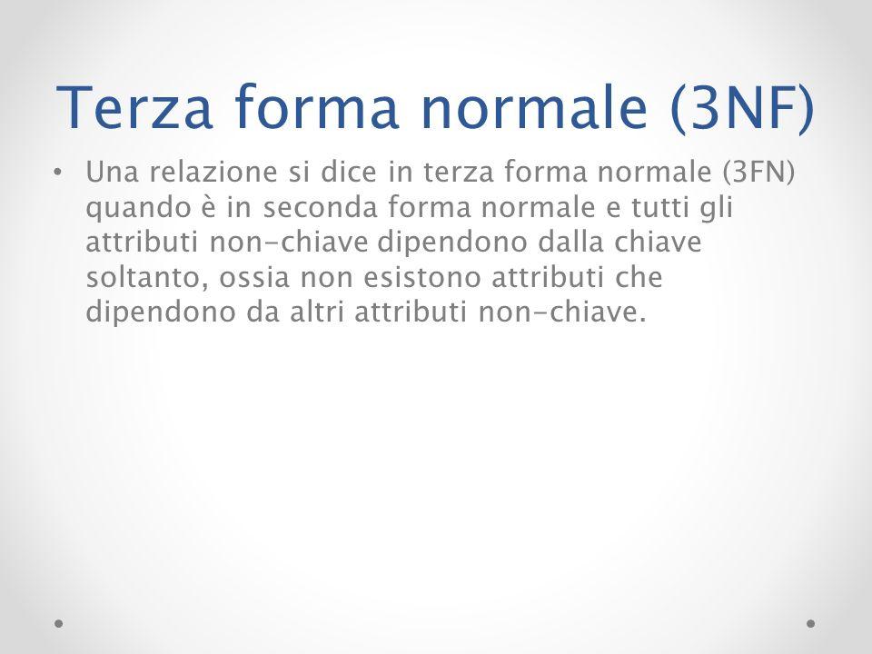 Terza forma normale (3NF) Una relazione si dice in terza forma normale (3FN) quando è in seconda forma normale e tutti gli attributi non-chiave dipend