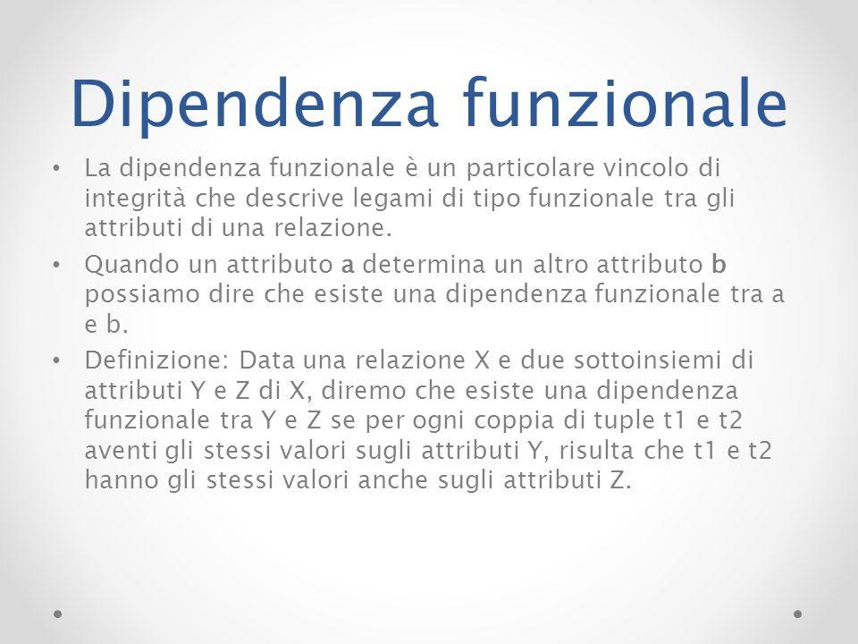 Dipendenza funzionale La dipendenza funzionale è un particolare vincolo di integrità che descrive legami di tipo funzionale tra gli attributi di una r