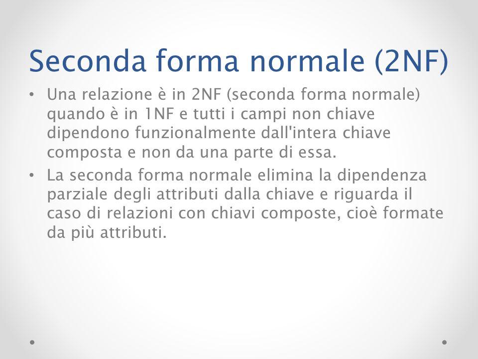 Seconda forma normale (2NF) Una relazione è in 2NF (seconda forma normale) quando è in 1NF e tutti i campi non chiave dipendono funzionalmente dall'in