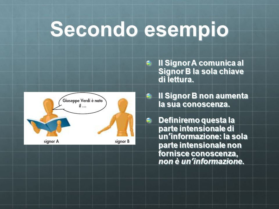 Secondo esempio Il Signor A comunica al Signor B la sola chiave di lettura.