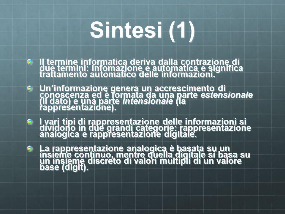 Sintesi (1) Il termine informatica deriva dalla contrazione di due termini: infomazione e automatica e significa trattamento automatico delle informaz
