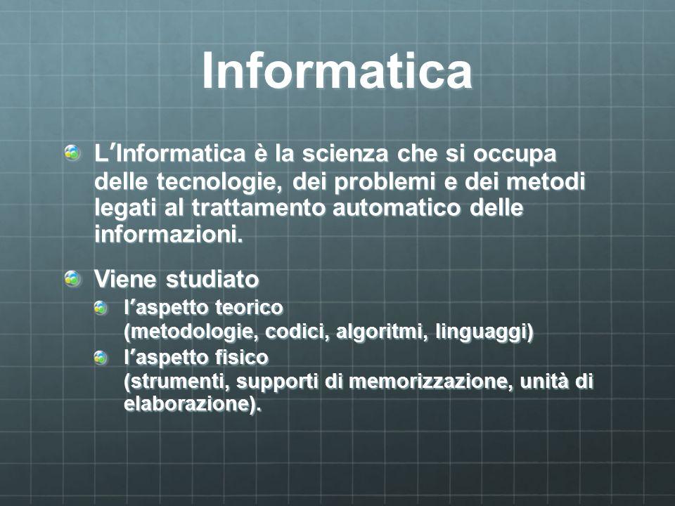 Informatica LInformatica è la scienza che si occupa delle tecnologie, dei problemi e dei metodi legati al trattamento automatico delle informazioni. V