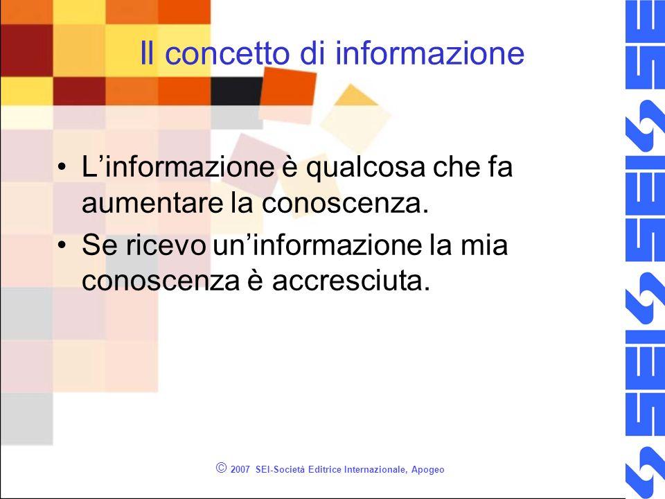 © 2007 SEI-Società Editrice Internazionale, Apogeo Il concetto di informazione Linformazione è qualcosa che fa aumentare la conoscenza.