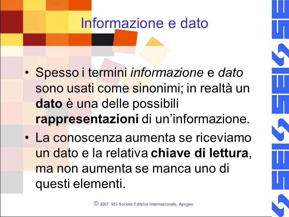 © 2007 SEI-Società Editrice Internazionale, Apogeo Informazione e dato Spesso i termini informazione e dato sono usati come sinonimi; in realtà un dato è una delle possibili rappresentazioni di uninformazione.