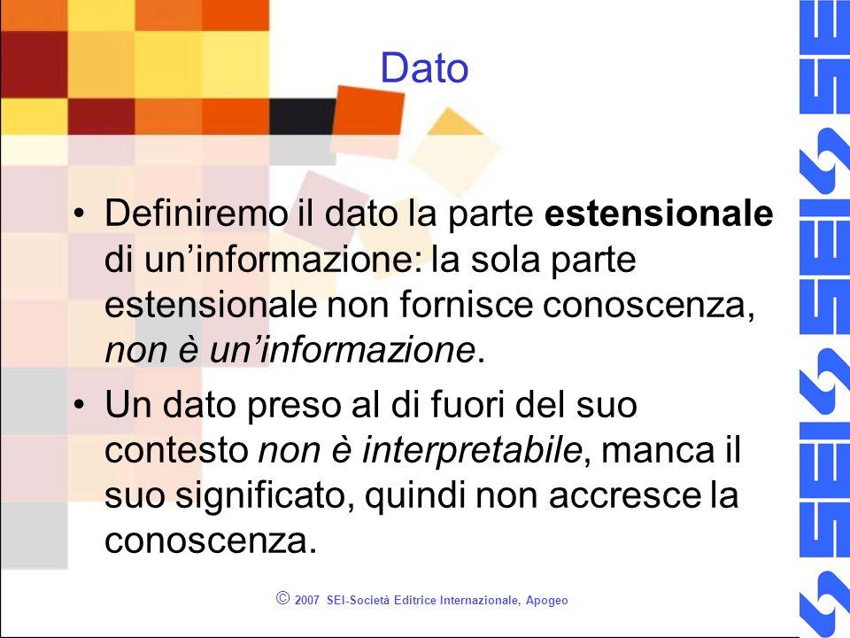 © 2007 SEI-Società Editrice Internazionale, Apogeo Dato Definiremo il dato la parte estensionale di uninformazione: la sola parte estensionale non fornisce conoscenza, non è uninformazione.
