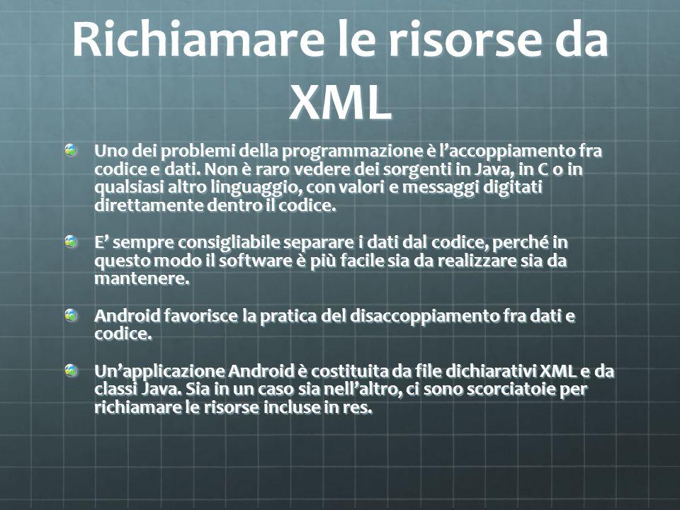 Richiamare le risorse da XML Uno dei problemi della programmazione è laccoppiamento fra codice e dati.