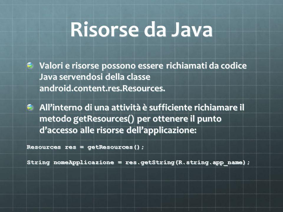 Risorse da Java Valori e risorse possono essere richiamati da codice Java servendosi della classe android.content.res.Resources.