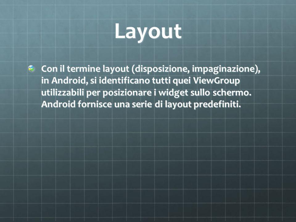 Layout Con il termine layout (disposizione, impaginazione), in Android, si identificano tutti quei ViewGroup utilizzabili per posizionare i widget sullo schermo.