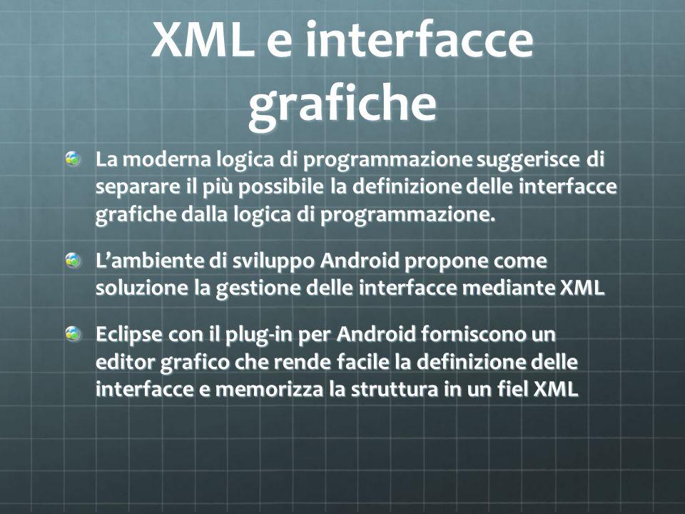 XML e interfacce grafiche La moderna logica di programmazione suggerisce di separare il più possibile la definizione delle interfacce grafiche dalla logica di programmazione.