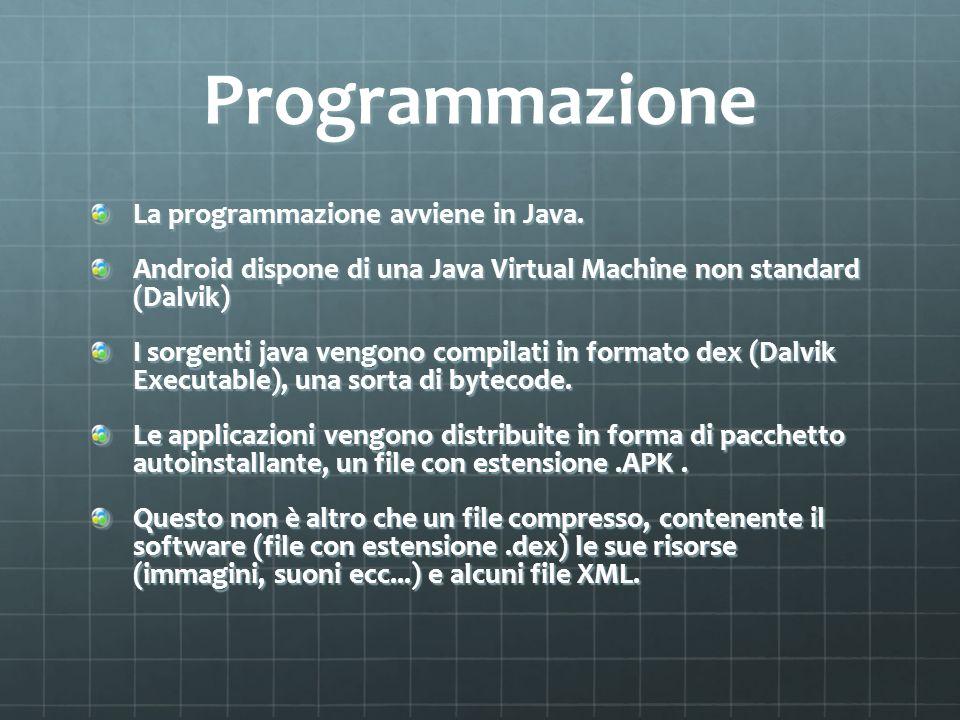 Programmazione La programmazione avviene in Java.