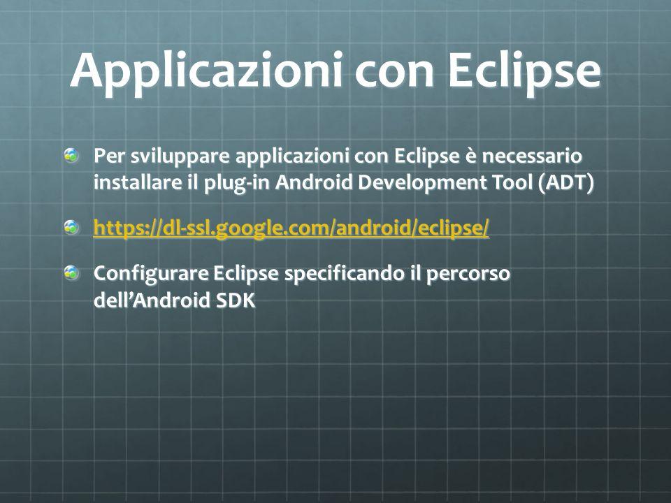 Applicazioni con Eclipse Per sviluppare applicazioni con Eclipse è necessario installare il plug-in Android Development Tool (ADT) https://dl-ssl.google.com/android/eclipse/ Configurare Eclipse specificando il percorso dellAndroid SDK