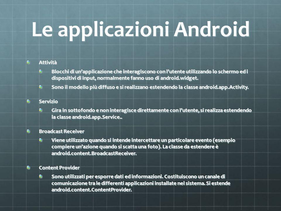 Le applicazioni Android Attività̀ Blocchi di unapplicazione che interagiscono con lutente utilizzando lo schermo ed i dispositivi di input, normalmente fanno uso di android.widget.