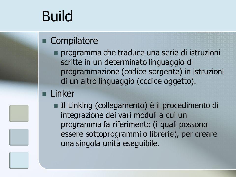 Build Compilatore programma che traduce una serie di istruzioni scritte in un determinato linguaggio di programmazione (codice sorgente) in istruzioni