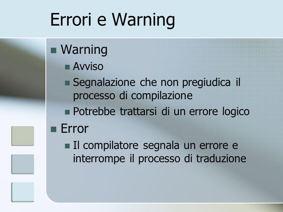 Errori e Warning Warning Avviso Segnalazione che non pregiudica il processo di compilazione Potrebbe trattarsi di un errore logico Error Il compilator
