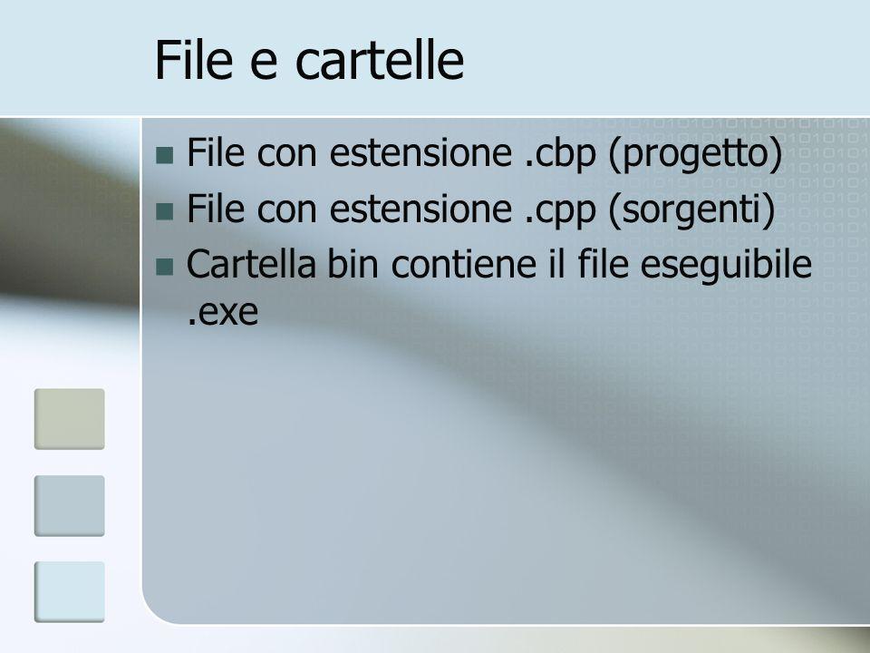File e cartelle File con estensione.cbp (progetto) File con estensione.cpp (sorgenti) Cartella bin contiene il file eseguibile.exe
