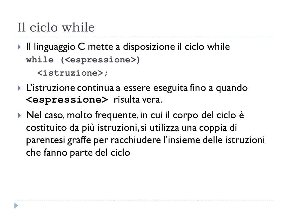 Il ciclo while Il linguaggio C mette a disposizione il ciclo while while ( ) ; Listruzione continua a essere eseguita fino a quando risulta vera. Nel