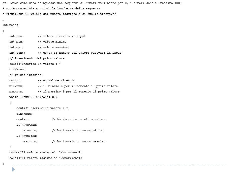 /* Riceve come dato d'ingresso una sequenza di numeri terminante per 0, i numeri sono al massimo 100, * non è conosciuta a priori la lunghezza della s