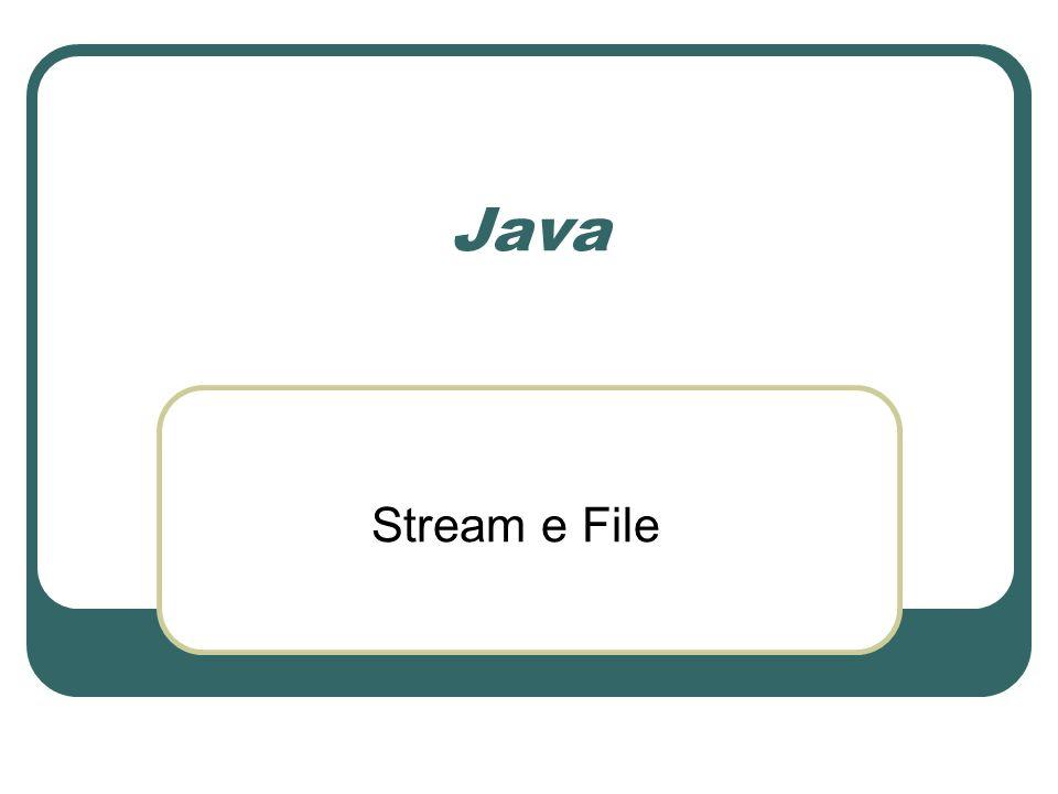 Il concetto di flusso (stream) Un flusso (stream) è inteso come sequenza continua e monodirezionale di informazioni che transitano da unentità a unaltra Un programma costituisce la sorgente o la destinazione di un flusso Laltra estremità può essere un altro programma, un file su disco, lo schermo, la tastiera …