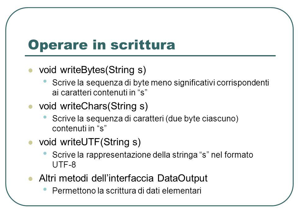Operare in scrittura void writeBytes(String s) Scrive la sequenza di byte meno significativi corrispondenti ai caratteri contenuti in s void writeChar