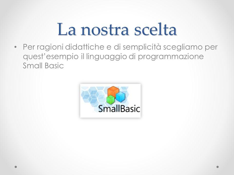 La nostra scelta Per ragioni didattiche e di semplicità scegliamo per questesempio il linguaggio di programmazione Small Basic