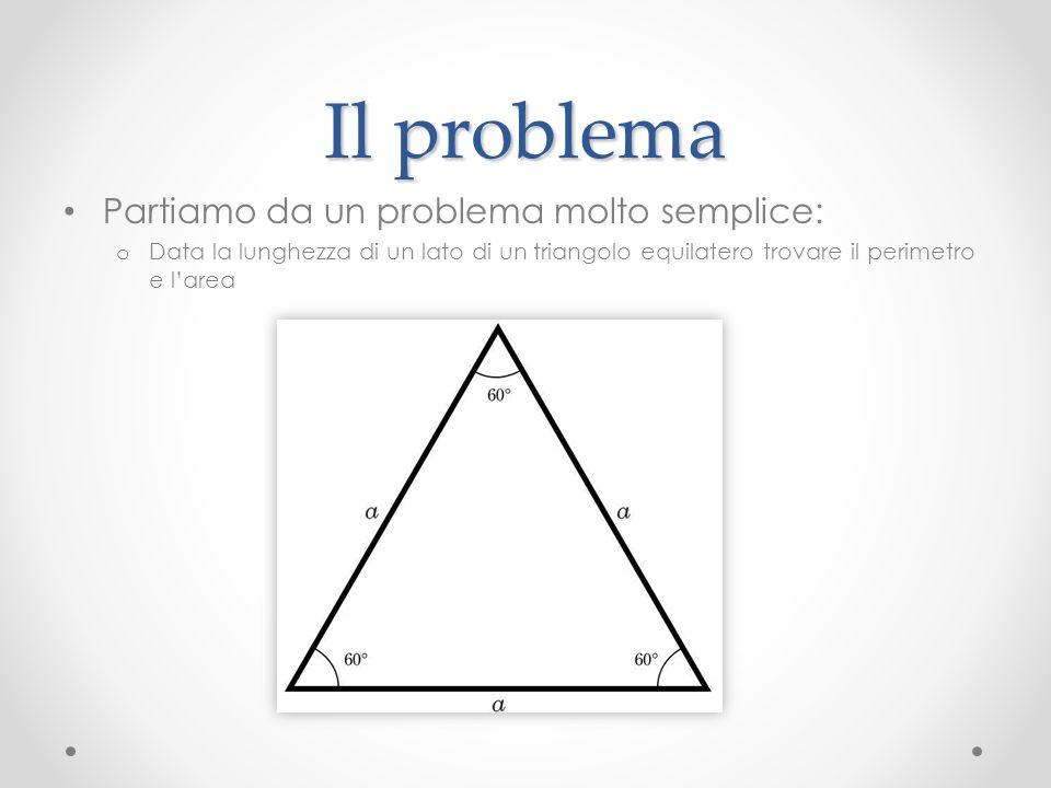 Il problema Partiamo da un problema molto semplice: o Data la lunghezza di un lato di un triangolo equilatero trovare il perimetro e larea
