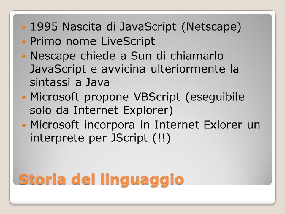 Storia del linguaggio 1995 Nascita di JavaScript (Netscape) Primo nome LiveScript Nescape chiede a Sun di chiamarlo JavaScript e avvicina ulteriorment