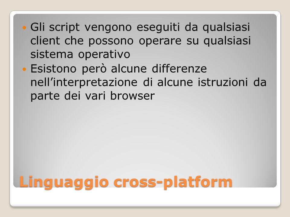 Linguaggio cross-platform Gli script vengono eseguiti da qualsiasi client che possono operare su qualsiasi sistema operativo Esistono però alcune diff