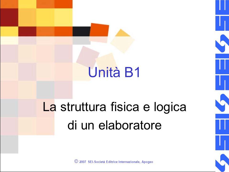 © 2007 SEI-Società Editrice Internazionale, Apogeo Unità B1 La struttura fisica e logica di un elaboratore
