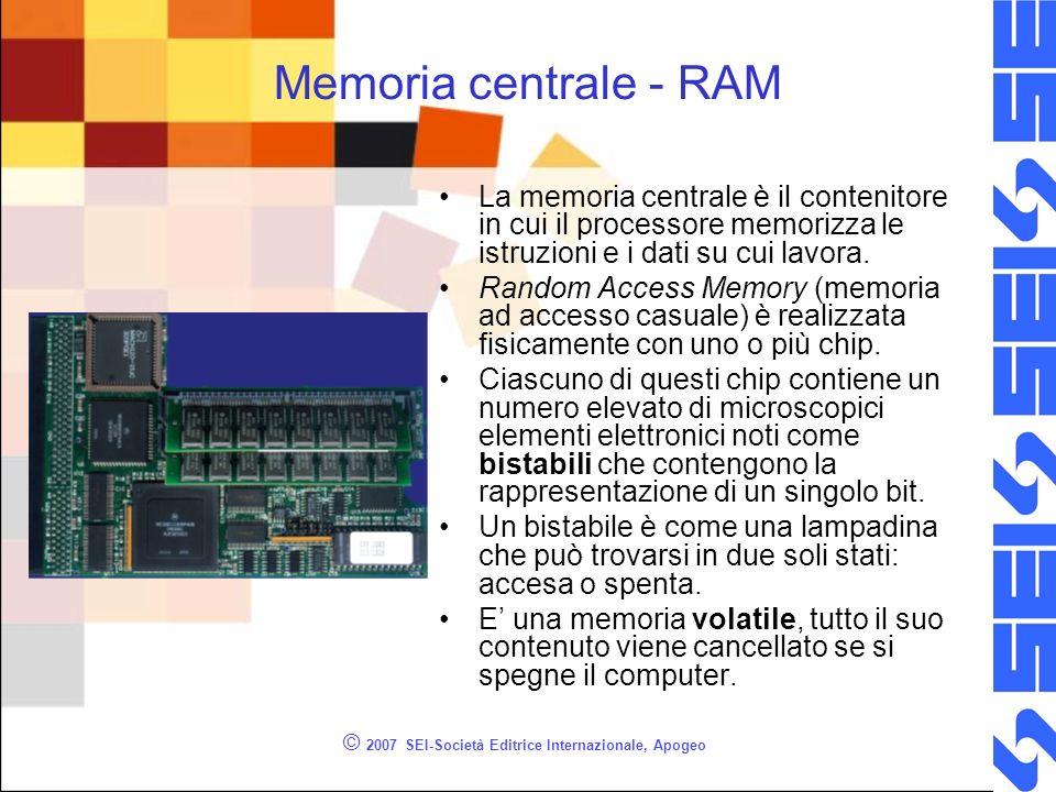 © 2007 SEI-Società Editrice Internazionale, Apogeo Memoria centrale - RAM La memoria centrale è il contenitore in cui il processore memorizza le istru