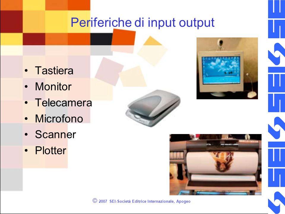 © 2007 SEI-Società Editrice Internazionale, Apogeo Periferiche di input output Tastiera Monitor Telecamera Microfono Scanner Plotter