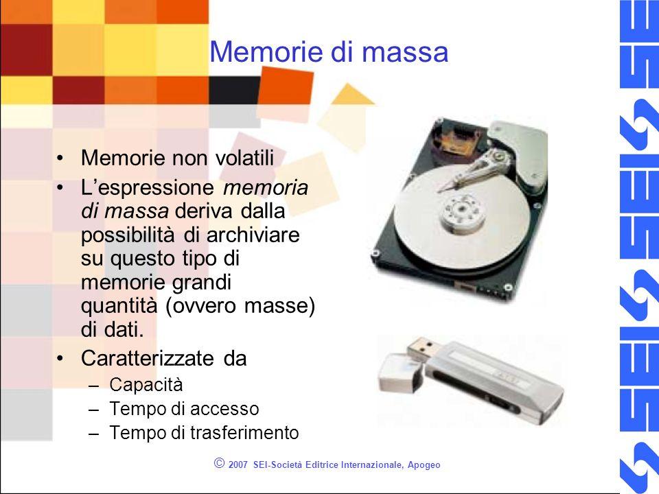 © 2007 SEI-Società Editrice Internazionale, Apogeo Memorie di massa Memorie non volatili Lespressione memoria di massa deriva dalla possibilità di arc