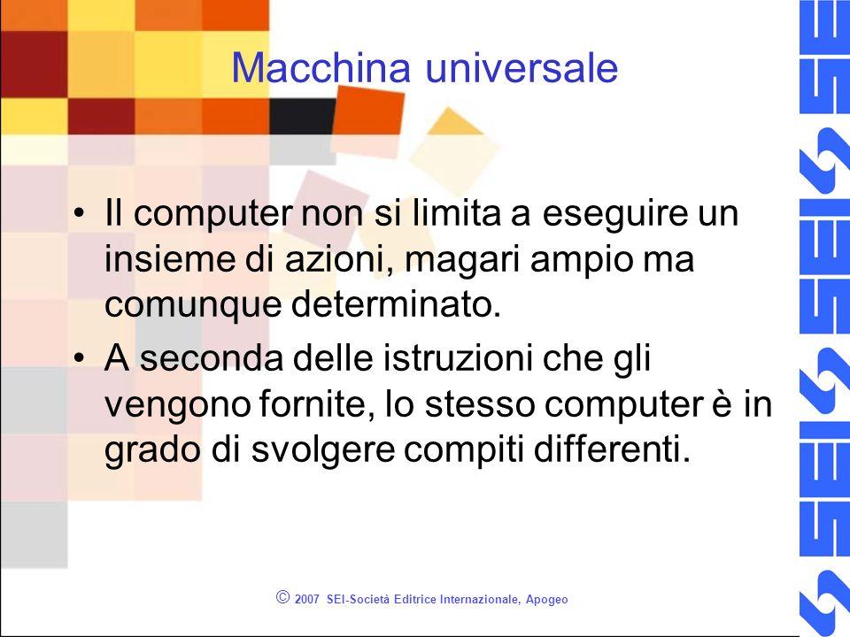 © 2007 SEI-Società Editrice Internazionale, Apogeo Hardware e Software Hardware = componente meccanica, concreta della macchina Software = parte immateriale, linsieme delle istruzioni e dei dati.