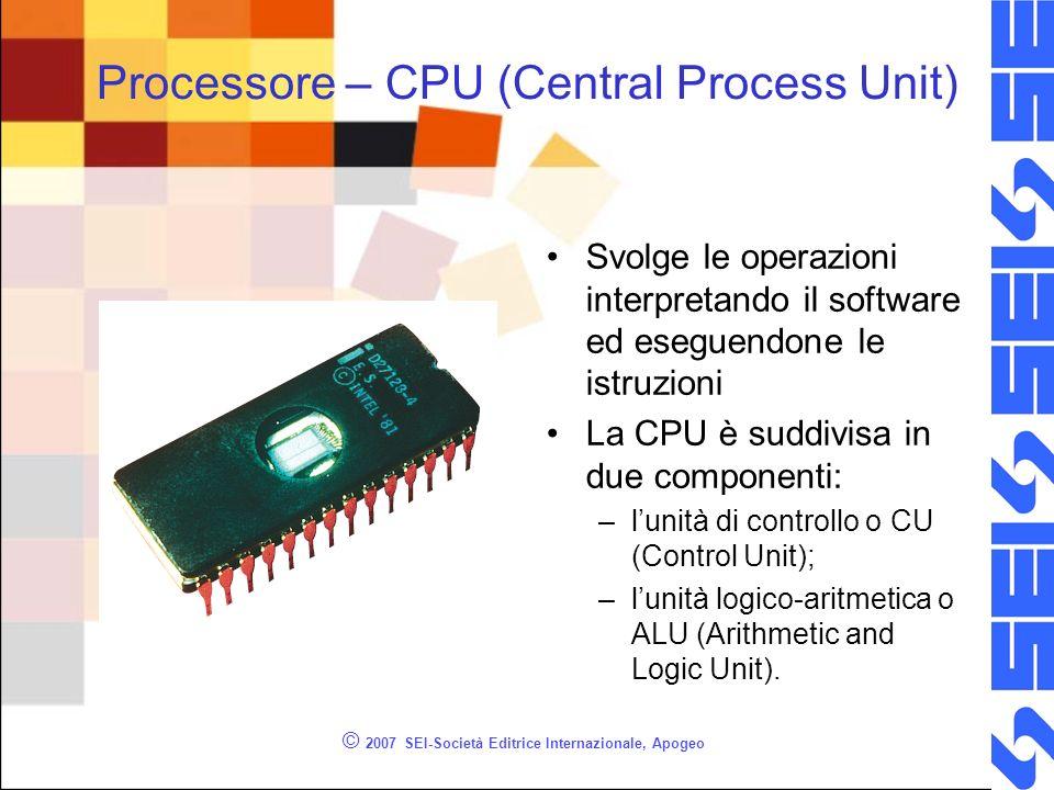 © 2007 SEI-Società Editrice Internazionale, Apogeo Processore – CPU (Central Process Unit) Svolge le operazioni interpretando il software ed eseguendo
